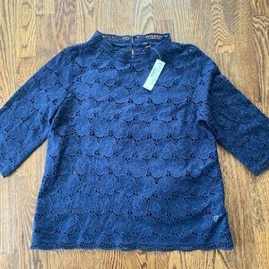 J Crew Collection Navy Lace Eyelet 3/4 Sleeve NWT